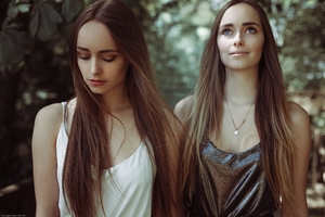Long Hairs Girls Two Women Outdoors Wallpaper