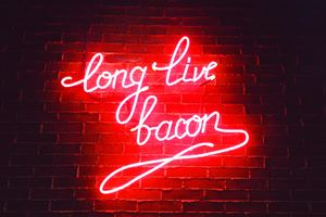 Long Live Bacon Neon Lights Wallpaper