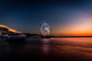 Longexposure Beautiful Ferris Wheel 5k Wallpaper