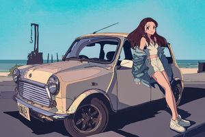 Loreley Anime Leaning On Car Wallpaper