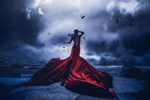 Lost In Night Girl Red Dress With Lantern Wallpaper