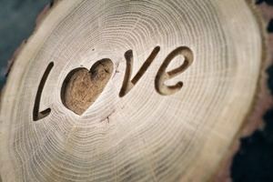 Love Written On Wood Wallpaper