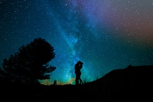 Lovers Night Sky Starry Sky Wallpaper