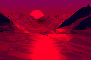 Low Poly Red 3d Abstract 4k