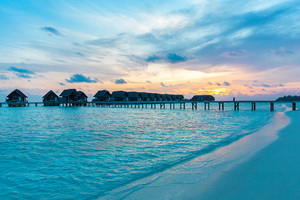 Maldives Resorts Huts Over Water Wallpaper