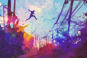 Man Jumping Roof Abstract Illustration Painting 5k Wallpaper