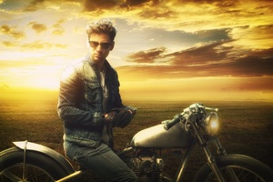Man On A Motorbike At Sunset Wallpaper