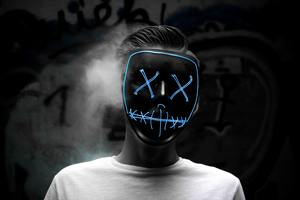 Man Wearing Blue Mask 5k Wallpaper
