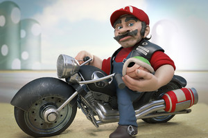 Mario On Harley Davidson Wallpaper