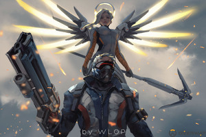 Mercy And Soldier 76 Overwatch Artwork