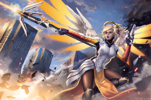 Mercy Overwatch Game Fanart Wallpaper