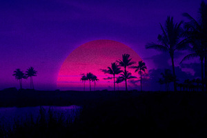 Miami Sunset Artistic Wallpaper
