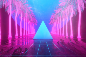 Miami Trees Triangle Neon Artwork 4k Wallpaper