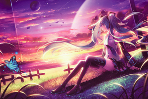 Miku Anime Girl Dreamy Fantasy Colorful Artwork Wallpaper