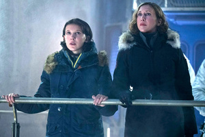 Millie Bobby Brown And Vera Farmiga In Godzilla King Of The Monsters Wallpaper