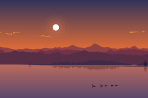 Minimal Lake Sunset