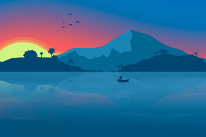 Minimalist Beach Boat Mountains Sunset Birds 8k