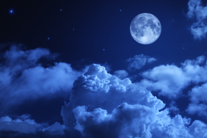 Moon Night Sky Clouds 5k Wallpaper