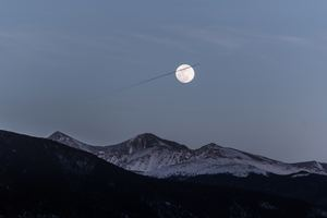 Moon Over Snowy Mountains 5k Wallpaper