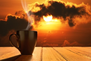 Morning Coffee Sun Rising Wallpaper