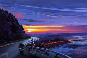 Motorcyle Digital Art Sunset Artwork Wallpaper