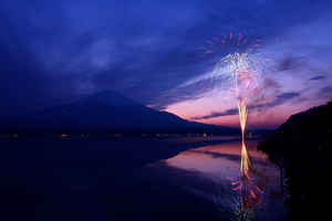 Mount Fuji Fireworks Japan 5k Wallpaper