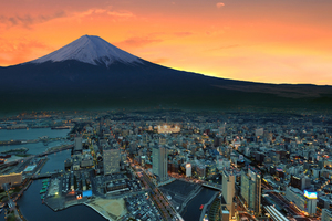 Mount Fuji Snowy Peak Japan Sunset City Wallpaper
