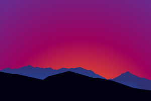 Mountain Landscape Sunset Minimalist 15k Wallpaper