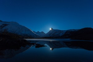 Mountain Moon Reflection In Water Wallpaper