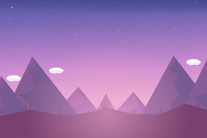 Mountains Clouds Illustration Minimalism Wallpaper