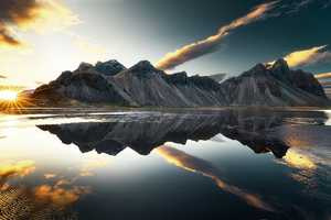 Mountains Clouds Lake Reflection Sun Sky Wallpaper