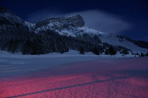 Mountains Landscape Night Snow 5k Wallpaper