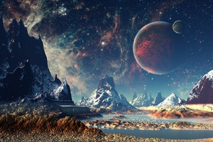 Mountains Stars Space Planets Digital Art Artwork 4k Wallpaper