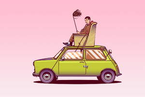 Mr Bean Sitting On Top Of His Car Vector Art Wallpaper