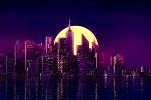 Neon City Buildings Reflection Skycrapper Minimalism 4k Wallpaper