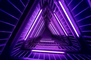 Neon Triangle Architecture 4k Wallpaper