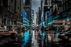 New York City Street Reflection Motion Blur Dark 4k