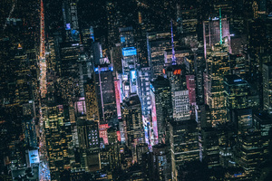 New York Dark City Night Lights Buildings View From Top 5k Wallpaper