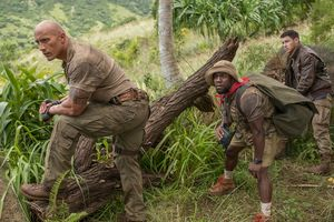 Nick Jonas Kevin Hart Dwayne Johnson Jumanji Welcome To The Jungle Movie Wallpaper