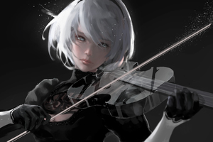Nier Automata Playing Music 4k Wallpaper