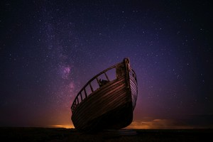 Night Boat Sky Stars 5k Wallpaper