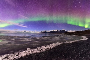 Northern Lights Aurora Glacier Landscape 4k Wallpaper