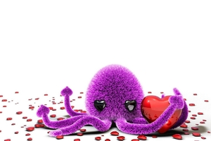 Octopus Art Love Wallpaper