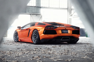 Orange Lamborghini Aventador 5k Wallpaper