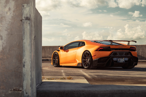 Orange Lamborghini Huracan Rear 8k Wallpaper