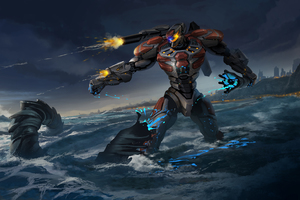 Pacific Rim Robot Firing Gun Wallpaper