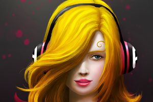 Painting Art Girl Headphones Wallpaper