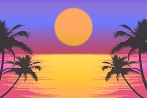 Palm Trees Sun Vector Artwork 8k Wallpaper