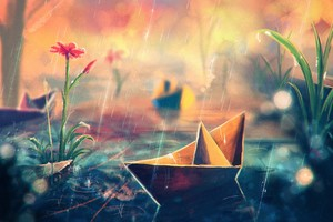 Paperboats Artwork Wallpaper