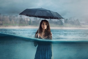 Photography Manipulation Umbrella Girl Women Rain